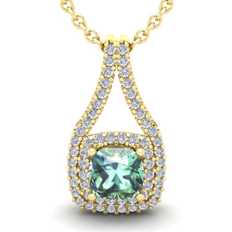 2 3/4 Carat Cushion Cut Green Amethyst and Double Halo Diamond Necklace In 14 Karat Yellow Gold, 18 Inches