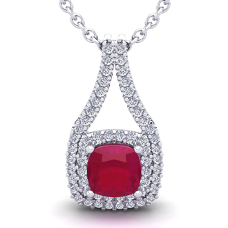 3 3/4 Carat Cushion Cut Ruby and Double Halo Diamond Necklace In 14 Karat White Gold, 18 Inches