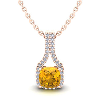 1 Carat Cushion Cut Citrine and Classic Halo Diamond Necklace In 14 Karat Rose Gold, 18 Inches