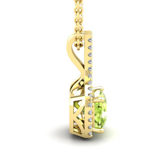 1 1/4 Carat Cushion Cut Peridot and Classic Halo Diamond Necklace In 14 Karat Yellow Gold, 18 Inches