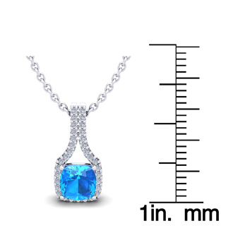 1 1/3 Carat Cushion Cut Blue Topaz and Classic Halo Diamond Necklace In 14 Karat White Gold, 18 Inches