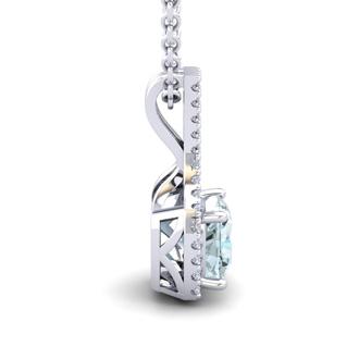 1 Carat Cushion Cut Aquamarine and Classic Halo Diamond Necklace In 14 Karat White Gold, 18 Inches