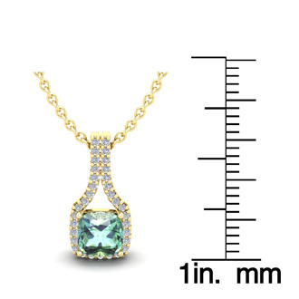 1 Carat Cushion Cut Green Amethyst and Classic Halo Diamond Necklace In 14 Karat Yellow Gold, 18 Inches