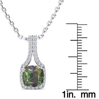 2 Carat Cushion Cut Mystic Topaz and Classic Halo Diamond Necklace In 14 Karat White Gold, 18 Inches