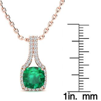 2 Carat Cushion Cut Emerald and Classic Halo Diamond Necklace In 14 Karat Rose Gold, 18 Inches