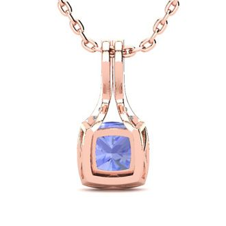1 3/4 Carat Cushion Cut Tanzanite and Classic Halo Diamond Necklace In 14 Karat Rose Gold, 18 Inches