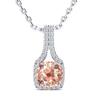 2 Carat Cushion Cut Morganite and Classic Halo Diamond Necklace In 14 Karat White Gold, 18 Inches