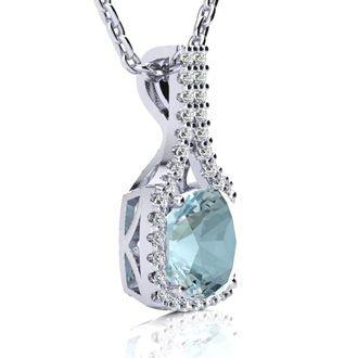 2 1/2 Carat Cushion Cut Aquamarine and Classic Halo Diamond Necklace In 14 Karat White Gold, 18 Inches