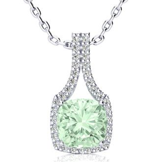 2 1/2 Carat Cushion Cut Green Amethyst and Classic Halo Diamond Necklace In 14 Karat White Gold, 18 Inches