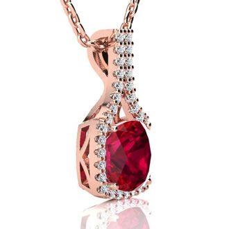3 1/2 Carat Cushion Cut Ruby and Classic Halo Diamond Necklace In 14 Karat Rose Gold, 18 Inches