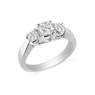 1/4ct Three Diamond Ring in White Gold