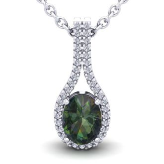 1 1/4 Carat Oval Shape Mystic Topaz and Halo Diamond Necklace In 14 Karat White Gold, 18 Inches