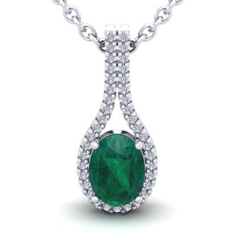 1 1/3 Carat Oval Shape Emerald and Halo Diamond Necklace In 14 Karat White Gold, 18 Inches