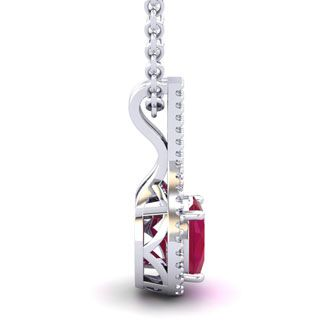 1 3/4 Carat Oval Shape Ruby and Halo Diamond Necklace In 14 Karat White Gold, 18 Inches