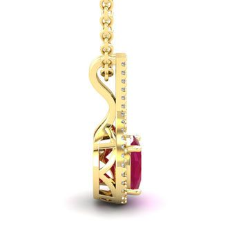 1 3/4 Carat Oval Shape Ruby and Halo Diamond Necklace In 14 Karat Yellow Gold, 18 Inches
