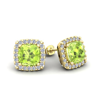 2 1/3 Carat Cushion Cut Peridot and Halo Diamond Stud Earrings In 14 Karat Yellow Gold