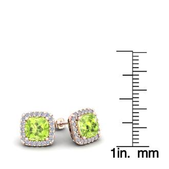 2 1/3 Carat Cushion Cut Peridot and Halo Diamond Stud Earrings In 14 Karat Rose Gold