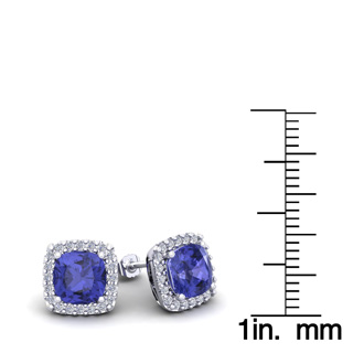 88fbc5aa7320a 2 1/4 Carat Cushion Cut Tanzanite and Halo Diamond Stud Earrings In 14  Karat White Gold