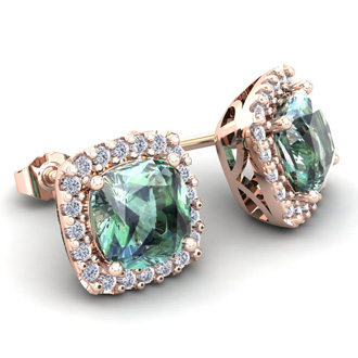 2 Carat Cushion Cut Green Amethyst and Halo Diamond Stud Earrings In 14 Karat Rose Gold