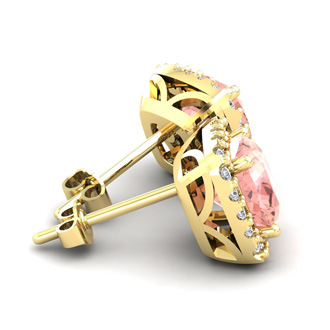 2 Carat Cushion Cut Morganite and Halo Diamond Stud Earrings In 14 Karat Yellow Gold
