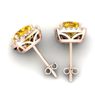 3 1/2 Carat Cushion Cut Citrine and Halo Diamond Stud Earrings In 14 Karat Rose Gold