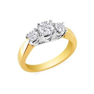 1/4ct Trellis Motif Three Diamond Ring in 10k Two Tone Gold