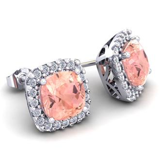 3 1/2 Carat Cushion Cut Morganite and Halo Diamond Stud Earrings In 14 Karat White Gold
