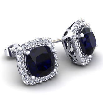 4 Carat Cushion Cut Sapphire and Halo Diamond Stud Earrings In 14 Karat White Gold