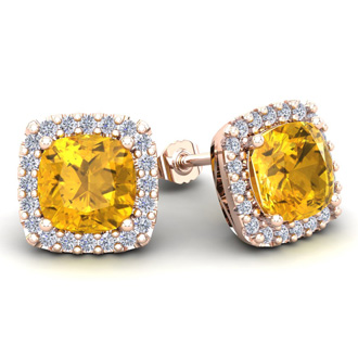 4 3/4 Carat Cushion Cut Citrine and Halo Diamond Stud Earrings In 14 Karat Rose Gold