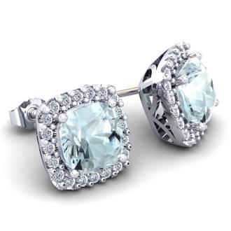 4 3/4 Carat Cushion Cut Aquamarine and Halo Diamond Stud Earrings In 14 Karat White Gold