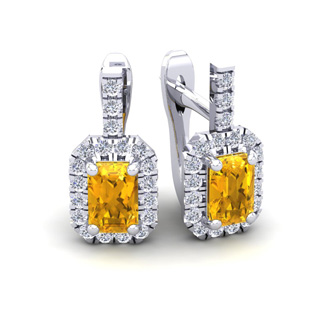 1 1/2 Carat Citrine and Halo Diamond Dangle Earrings In 14 Karat White Gold