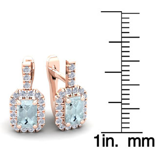 1 2/3 Carat Aquamarine and Halo Diamond Dangle Earrings In 14 Karat Rose Gold