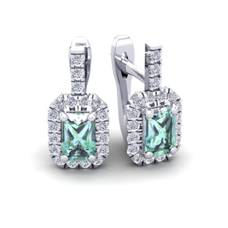 1 1/2 Carat Emerald Cut Green Amethyst and Halo Diamond Dangle Earrings In 14 Karat White Gold
