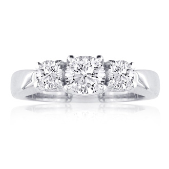1/2ct Engagment Three Diamond Ring in 14k White Gold