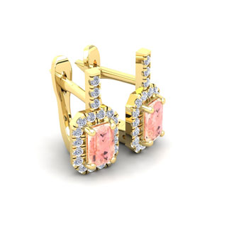1 3/4 Carat Morganite and Halo Diamond Dangle Earrings In 14 Karat Yellow Gold