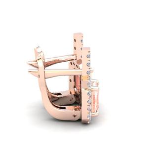 1 3/4 Carat Morganite and Halo Diamond Dangle Earrings In 14 Karat Rose Gold
