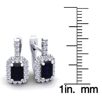 2 Carat Emerald Cut Sapphire and Halo Diamond Dangle Earrings In 14 Karat White Gold
