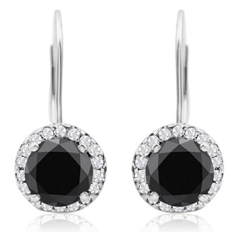 14K White Gold 2 1/4 Carat Black and White Halo Diamond Leverback Earrings