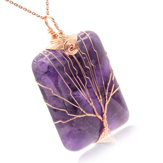 Rose Gold Tree of Life Wire Wrapped Amethyst Necklace, 18 Inches