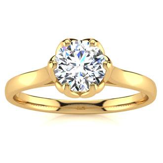 3/4 Carat Diamond Solitaire Engagement Ring In 14 Karat Yellow Gold
