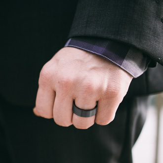 8MM Brushed Black Tungsten and Ethically Sourced Koa Wood Flat Top Ring