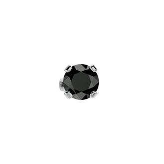 1/2ct Black Diamond SINGLE STUD Earring in White Gold