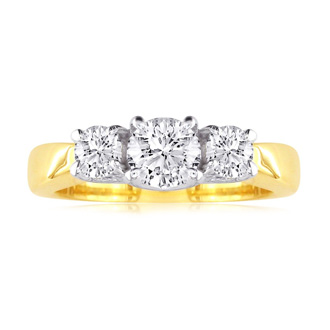 1/2ct Trellis Motif Three Diamond Ring in 14k Two Tone Gold