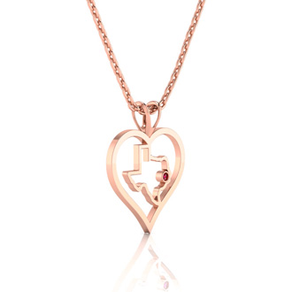 I Love Texas Heart Necklace In Rose Gold With Crystal Ruby Accent, 18 Inches.