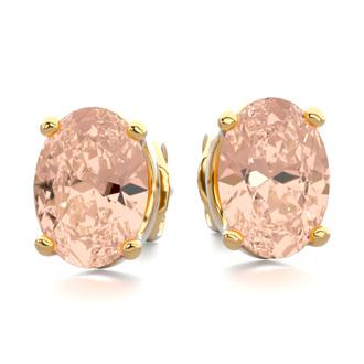 1 1/4 Carat Oval Shape Morganite Stud Earrings In 14K Yellow Gold Over Sterling Silver