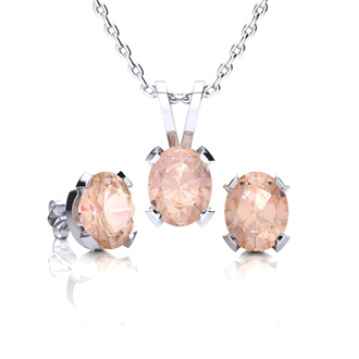 1 1/4 Carat Oval Shape Morganite Necklace and Earring Set In Sterling Silver