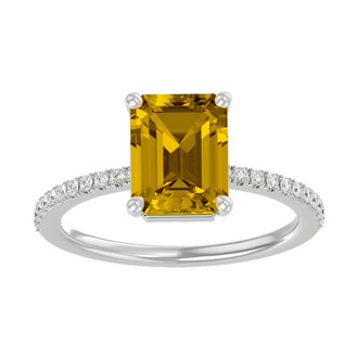 1 1/2 Carat Emerald Shape Citrine and Diamond Ring In 14 Karat White Gold