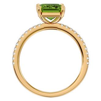 2 Carat Emerald Shape Peridot and Diamond Ring In 14 Karat Yellow Gold