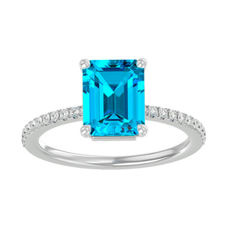 2 Carat Emerald Shape Blue Topaz and Diamond Ring In 14 Karat White Gold