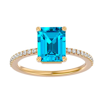 2 Carat Emerald Shape Blue Topaz and Diamond Ring In 14 Karat Yellow Gold